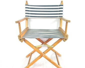 Vintage Mid Century Director Chair / Modern Office / Living Area / Beach / Folding / Striped Navy Canvas