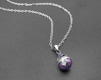 Purple Enamel Articulated Easter Egg Necklace on Sterling Silver