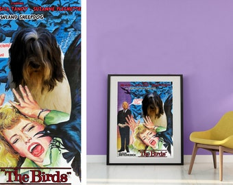 Polish Lowland Sheepdog Vintage Movie Style Poster Canvas Print  - The Birds   Perfect DOG LOVER GIFT Gift for Her Gift for Him Home Decor