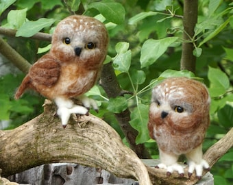 Needle Felted Brown Owls Saw Whet - Needlefelted Wool Bird Animal Soft Sculpture