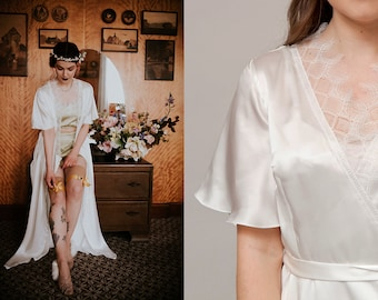 The Effie Robe / 1930s Inspired Robe / 30s Silk Dressing Gown / Bridal Lingerie / Flared Sleeves / French Lace / Handmade Vintage Lingerie