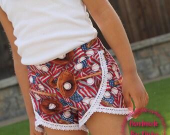 Ready to ship size 5. Girls shorts, toddler  shorts, shorties, baseball shorts