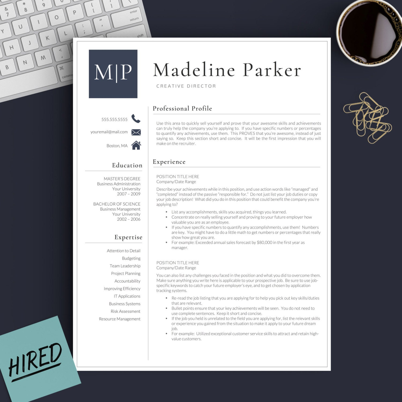 Currículum profesional plantilla de Word y páginas 1 2 y 3