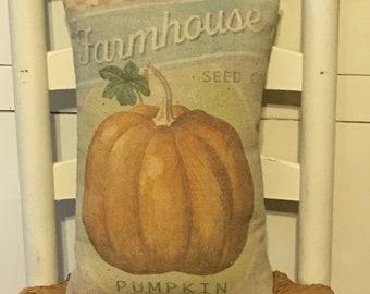 Pillow,Pumpkin Pillow,Fall Decor,Autumn Decor,Farmhouse Decor,Pumpkin Decor,Primitive Pillow,Rustic Decor