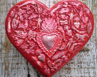 Sacred Heart, Milagros Heart, Milagro Charms, Ex Voto, 5th Anniversary Gift, Wood Anniversary