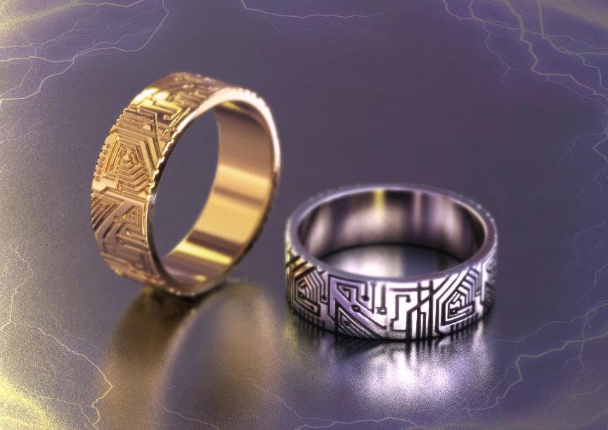 Geek wedding ring Circuit board ring programmer gift