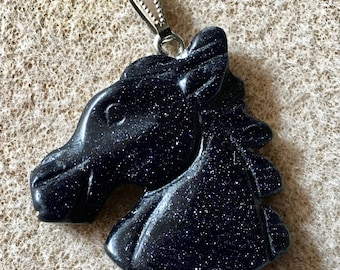 Dark Blue Goldstone Gemstone Horse Head Pendant with Bail Double Sided 35mm x 32mm 1 pendant