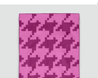 Pixelated Houndstooth Quilt Pattern