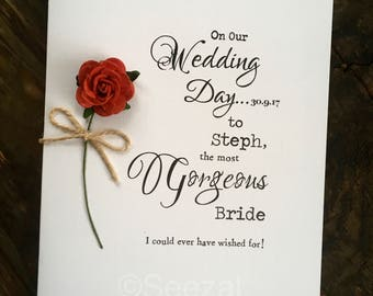 Simple typography etsy wedding day card bride groom designer typography personalised size a6 15x105cm wife husband stopboris Gallery