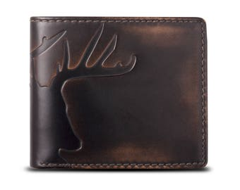 DEER Bifold Embossed Leather Wallet • Mens Wallet • PERSONALIZED Leather Wallet • Deer Hunting Gift • Men's Gifts