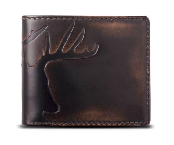 Deer Bifold Embossed Leather Wallet Mens Wallet