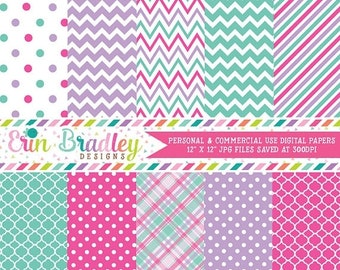 80% OFF SALE Digital Paper Pack Personal and Commercial Use Blue Pink & Purple Medley Instant Download