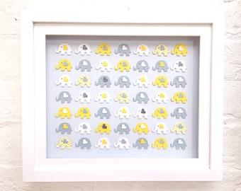 Baby girl elephant decor new baby girl elephant gift framed yellow and grey 3d elephant nursery decor paper elephant art framed elephants elephant decor framed elephants baby shower gifts negle Images