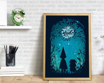 Over The Garden Wall Poster, Over The Garden Wall Art, Children Portrait,  Serie