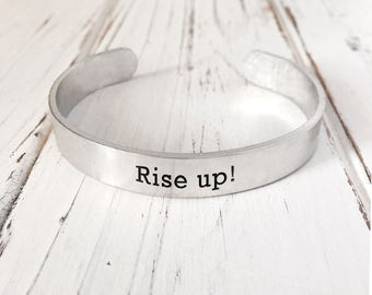 Rise up! Bracelet/ Musical Jewelry /Engraved Aluminum Bracelet/ Personalized Engraved Bracelet