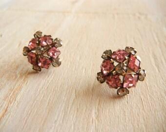 1950's Pink  Rhinestone Earrings | 12k Gold Filled Flower Earrings
