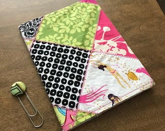 Composition notebook quilted cover with matching bookmark
