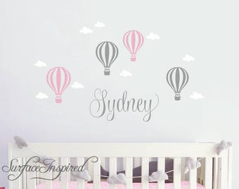 Wall Decals Personalized Name Hot Air Balloons With Clouds Wall Decals Large Stickers Vinyl Decal Stickers Nursery Personalized Name