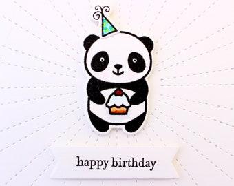 Panda Birthday Card, Panda Bear Birthday Card, Birthday Panda, Birthday Party Panda, Panda Cupcake Card, Birthday Hat Panda