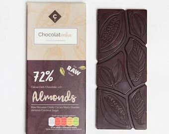 Raw Chocolate with Almond - Vegan Chocolate - Dark Chocolate - Free from - dairy free - gluten free - Gift for her - vegan gift. Almonds