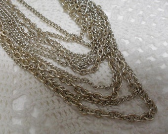 Vintage Silvertone Multi Strand Chain Necklace Japan 1950s