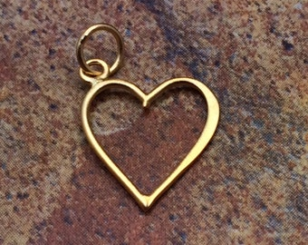 Heart Charm, Heart Pendant, Open Heart Charm, Gold Heart Charm, Heart Cut Out Charm, Gold Charm, PG0148