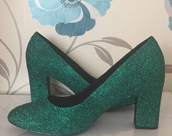 Teal Green Glitter Heels - Bottle Green - Deep Green - Bridal Shoes - Bridesmaid - Wedding - Prom - Customised Shoes - Glitter - UK Size 3-8