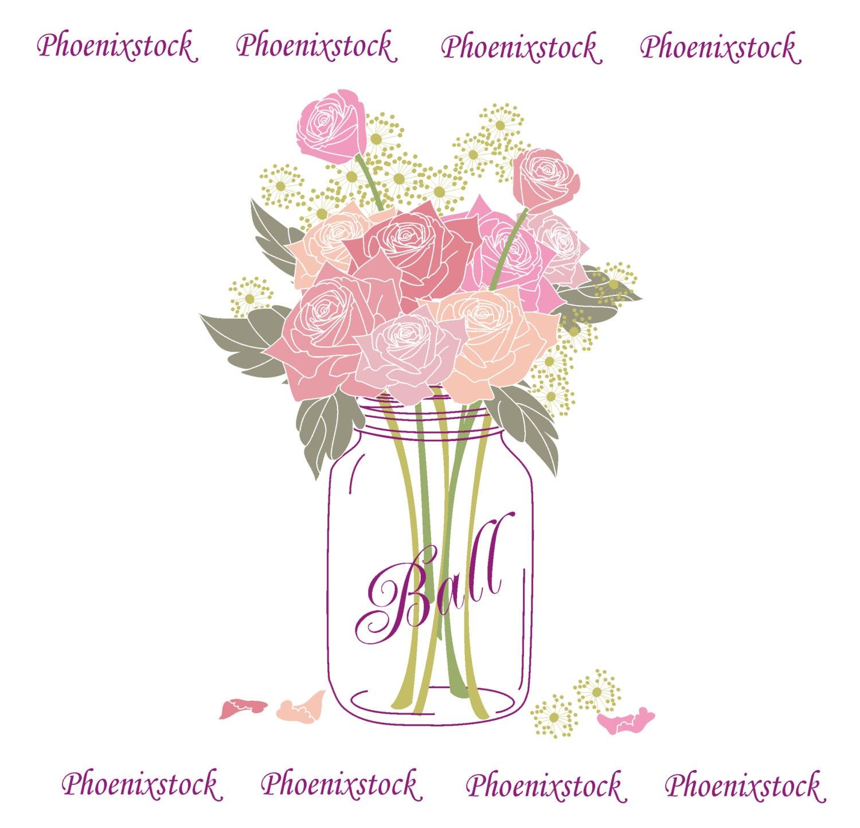 Wedding Flowers In Mason Jars: Wedding Clip Art/ Mason Jar Bouquet / Digital Clip Art/Flower