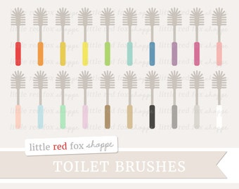 Toilet Brush Clipart, Toilet Bowl Cleaner Clip Art Bathroom Restroom Brush Cleaning Icon Cute Digital Graphic Design Small Commercial Use