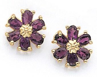 14K Yellow Gold Amethyst Flower Earrings, Flower Earrings, Amethyst Earrings, Floral Jewelry, Amethyst Jewelry, Flower Jewelry