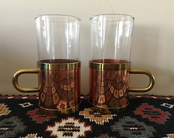 Vintage Copper & Glass Cups / Set of 2 / Barcart / Mid Century