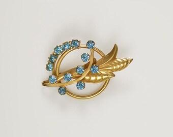 Vintage Sky Blue Rhinestones Brooch Pendant Gold Tone Wheat Sheaf Pin