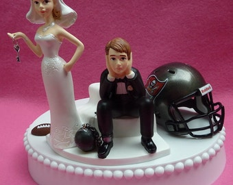 Wedding Cake Topper Tampa Bay Buccaneers TB Bucs Football Themed Ball and Chain Key w/ Garter Humorous Sports Fans Bride and Groom Sporty