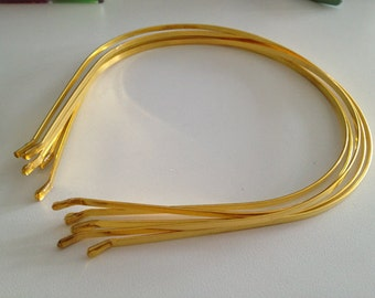 12pcs Gold Metal Headbands 3mm with bent end
