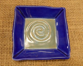 Spiral Textured Square Plate, Candle Plate, Offering Dish, Trinket Dish, Cobalt Blue, Ice Blue