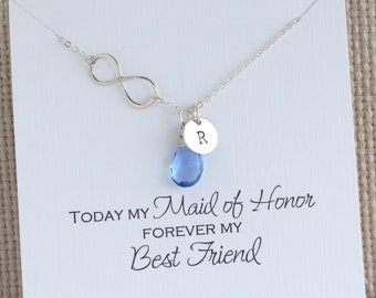 Infinity Silver Necklace with Birthstone and Initial | Personalized Maid of Honor Gift
