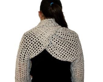 Crochet Shrug, Oatmeal Bolero, Long Sleeve Shrug, Plus Size Shrug, Oatmeal Shrug, Womens Scarf Shrug, Ivory Bolero, Twisted Cowl Shrug