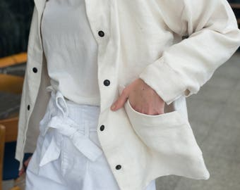 100% Linen Pearl Pure Linen Jacket, hand made in London, sustainable, artisan, fashion