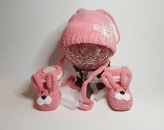 Pink bunny ears hat and pink bunny booties