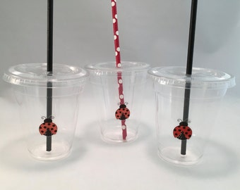 Ladybug Party Cups with Lids and Straws, Plastic Ladybug Party Drink Cups