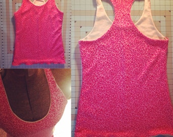 Thermal bamboo leopard hearts racerback TANK, lined with hemp/cotton fabric, SIZE M/L