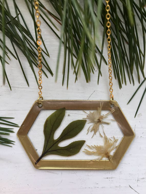 Real sassafras leaf and clematis brass hexagon necklace