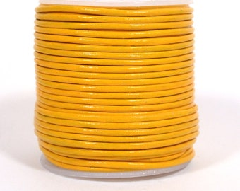 1.5mm Round Indian Leather - School Bus Yellow  - RC42
