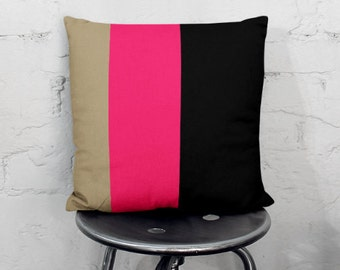 "Color Block Pillow Cover, Taupe Hot Pink  Black 16"" 18"" 20"" 26"""