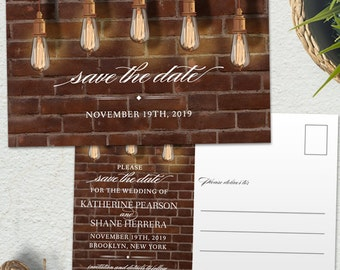 Vintage Edison Lightbulbs Industrial Chic Save the Date Postcard or Card; Printable, Evite or Printed (US Only) Cards