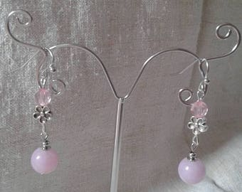 """pink pearls duo"" earrings"