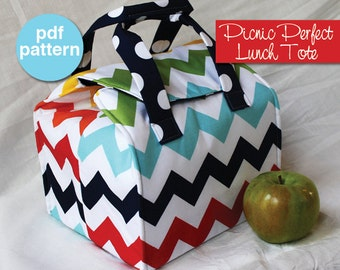 Picnic Perfect Lunch Tote - PDF Sewing Pattern - Bento Box Carrier