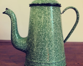Vintage enamel coffee pot/teapot/vase green speckled French farmhouse kitchen shabby chic