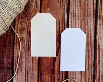 Blank white paper tags, set of 25 ivory wedding tags, blank wedding place cards, party favor labels, DIY wedding decor, small paper tags