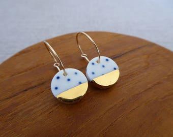 Indigo Dot Gold Dipped Disc Hoop Earrings